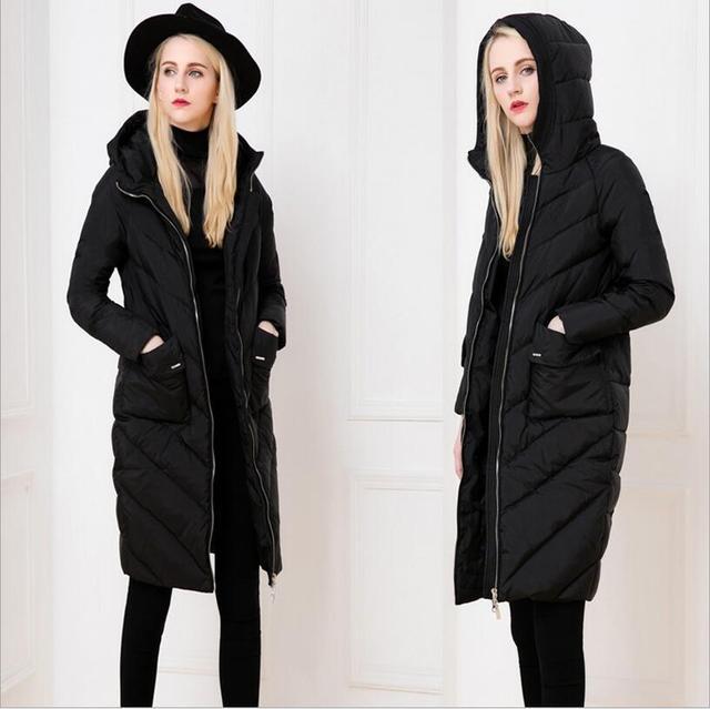 Nova jaqueta de inverno para baixo as mulheres em uma longa seção de grosso casaco de auto-cultivo Com Capuz extra longas joelhos grandes quintais