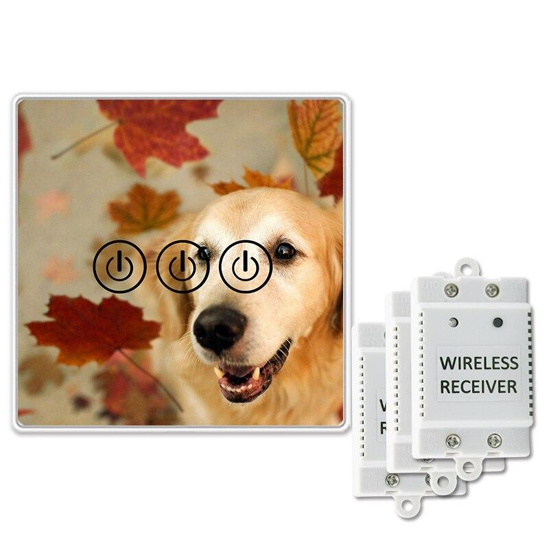 Interrupteur tactile sans fil Saful 3 Gang 3 voies conception de chien personnalisé bricolage interrupteur de verre de luxe interrupteur tactile lumière murale
