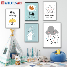 Rabbit Cloud Star Umbrella Leaf Wall Art Canvas Painting Nordic Posters And Prints Cartoon Pictures For Kids Room Decor