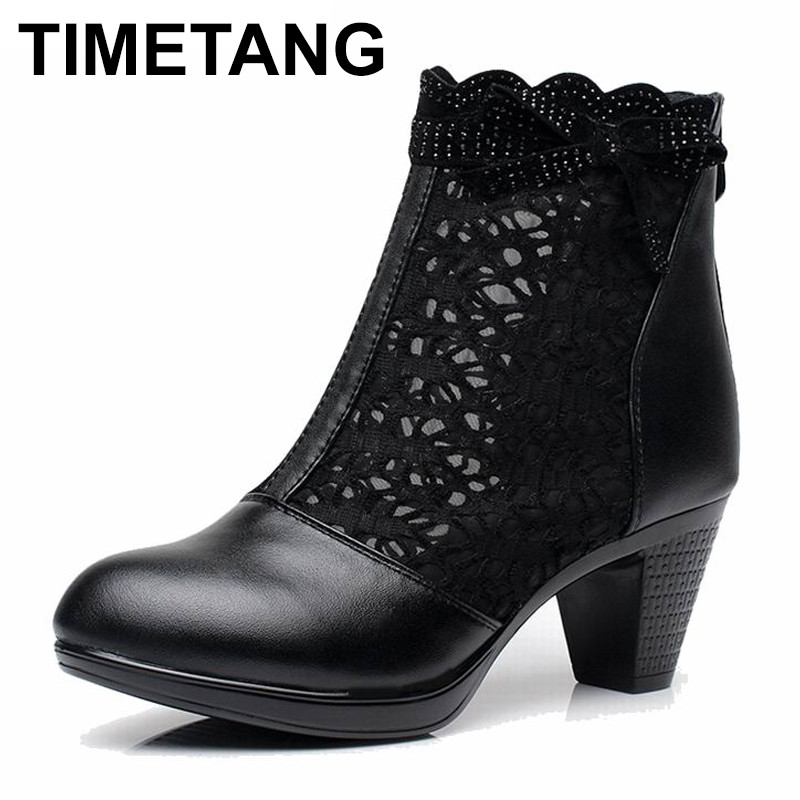 TIMETANG   Women summer 2018 ankle boots for women black ankle womens boots genuine leather lace autumn spring high heel bootsTIMETANG   Women summer 2018 ankle boots for women black ankle womens boots genuine leather lace autumn spring high heel boots