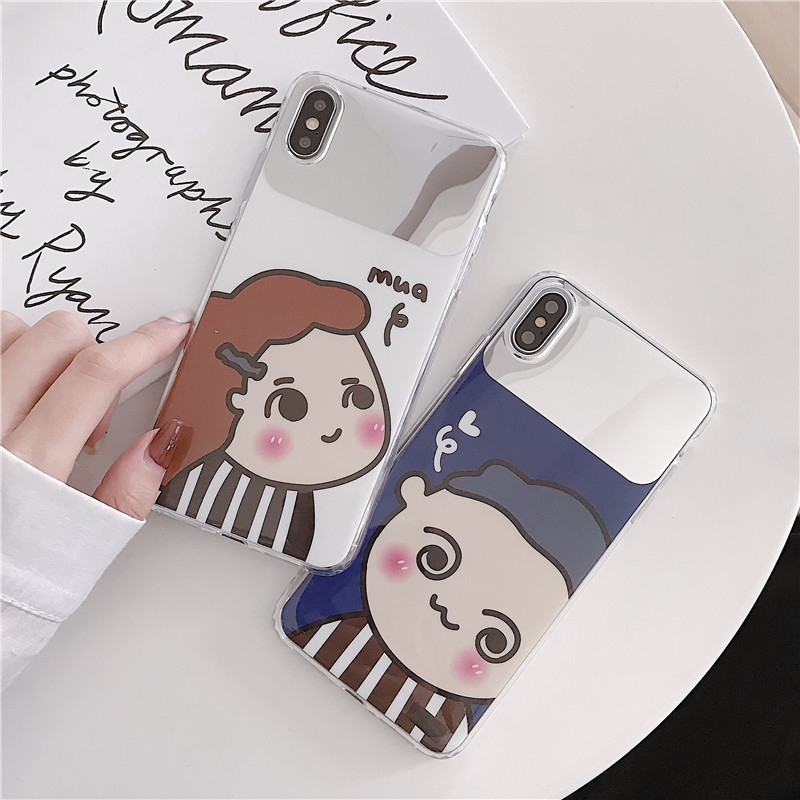 Cases Luxury Cartoon Mirror TPU Soft Silicone Case For iPhone 6 6s 7 8 Plus X XS MAX XR S R Shell Cover For iPhone 7 Plus i7 i7P in Fitted Cases from Cellphones Telecommunications