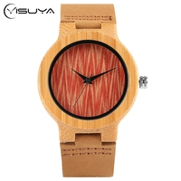 Creative Analog Bamboo Bangle Quartz Watch Women Ladies Wooden Watches Minimalist Timber Clock Red Leaf Dial