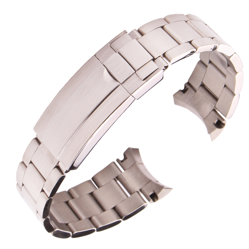 316L Stainless Steel Watchbands Bracelet 20mm Silver Brushed Screw Links Curve End Metal Watch Band Strap stainless steel cuticle removal shovel tool silver