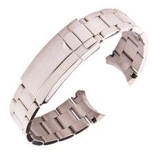 лучшая цена 316L Stainless Steel Watchbands Bracelet 20mm Silver Brushed Screw Links Curve End Metal Watch Band Strap