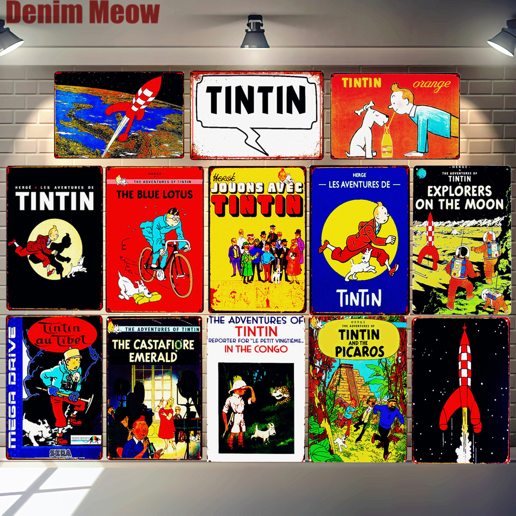 Adventures of Tintin Cartoon Retro Tin Signs Metal Wall Art Poster Pub Cafe Home Decor Vintage Bar Decoration Kid 39 s Gift N291 in Plaques amp Signs from Home amp Garden