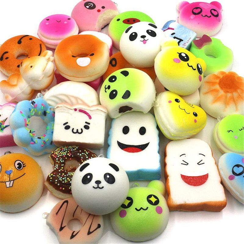 New 20Pcs Squishy Cake Panda Bread Donut Keychain Slow Rising Squishy Toys Food