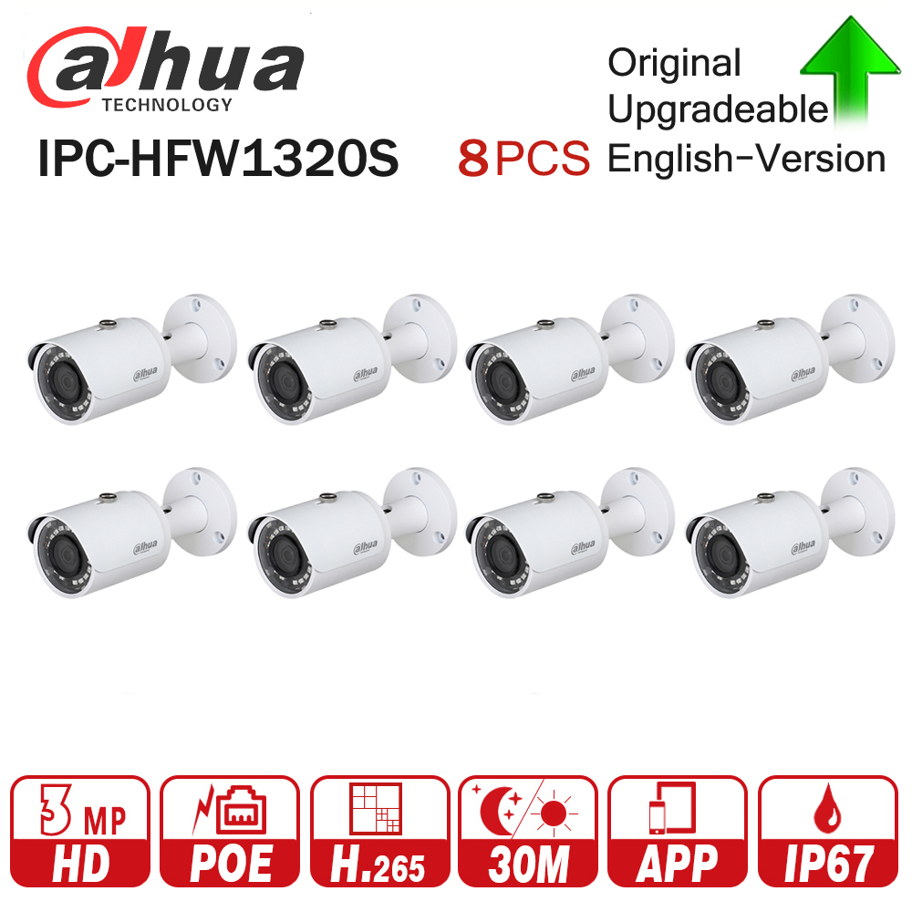 DaHua IP Camera IPC-HFW1320S 8Pcs/lot 3MP POE Mini Bullet CCTV Camera IP67 Waterproof Security Camera via fast Express shipping
