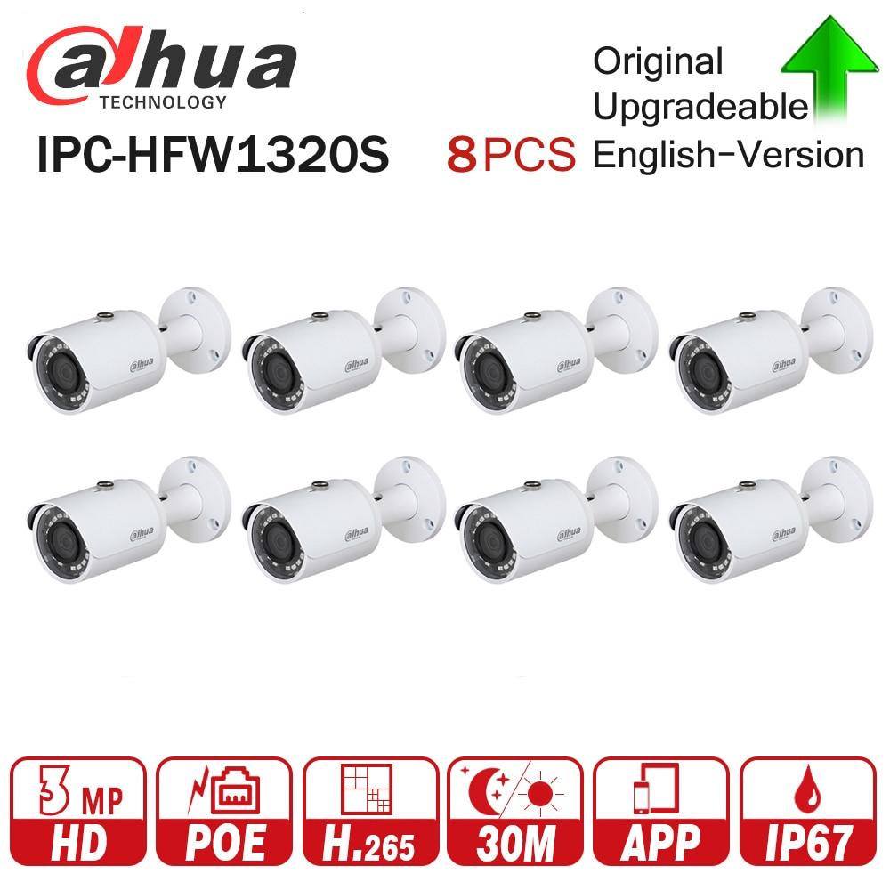 DaHua IP Camera IPC-HFW1320S 8Pcs/lot 3MP POE Mini Bullet CCTV Camera IP67 Waterproof Security Camera via fast Express shipping