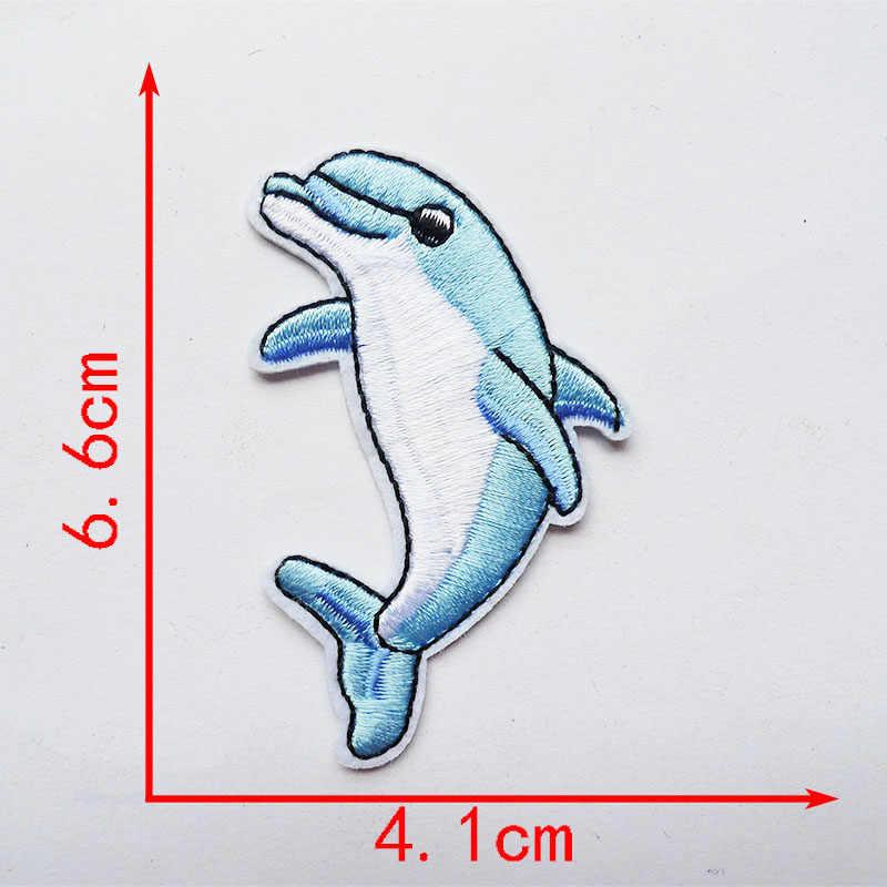1Pcs Mermaid Ikan Shell Hewan Laut Jahit Bordir Besi Pada Patch untuk Pakaian Stiker Bordiran Kepiting Bintang Laut Dolphin Lencana