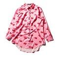 Mulheres Preguiçoso Oaf Coração Loving Imprimir Chiffon Blusa Camisas Femininas 2017 Verão Plus Size Ocasional de Manga Comprida Camisas de Vestido topos