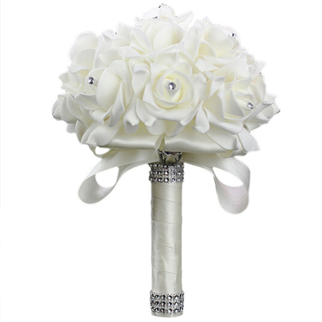 2016 New White rose Bride holding bouquet of flowers foam simulation wedding supplies 6 colors