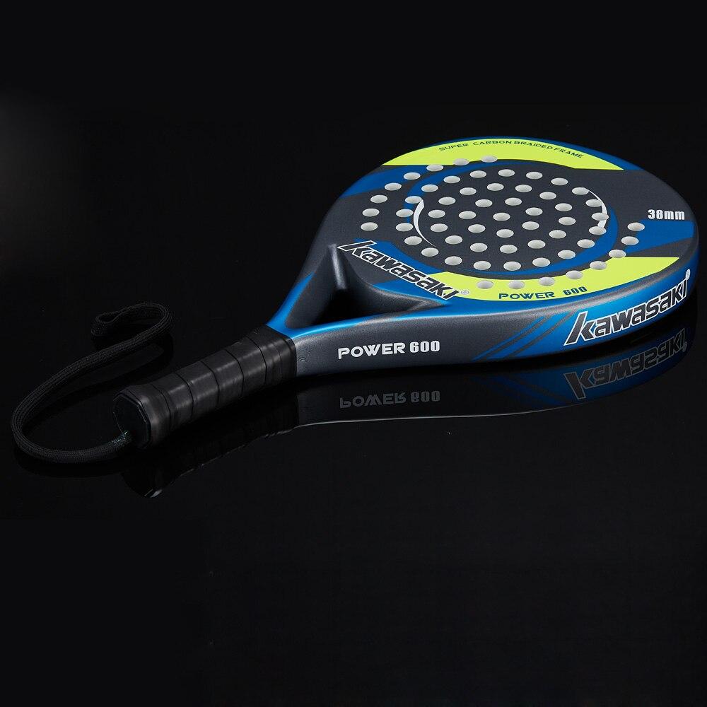 Kawasaki Padel Tennis fibre de carbone souple EVA Face Tennis raquette raquette avec Padle sac couverture et cadeau gratuit puissance 600