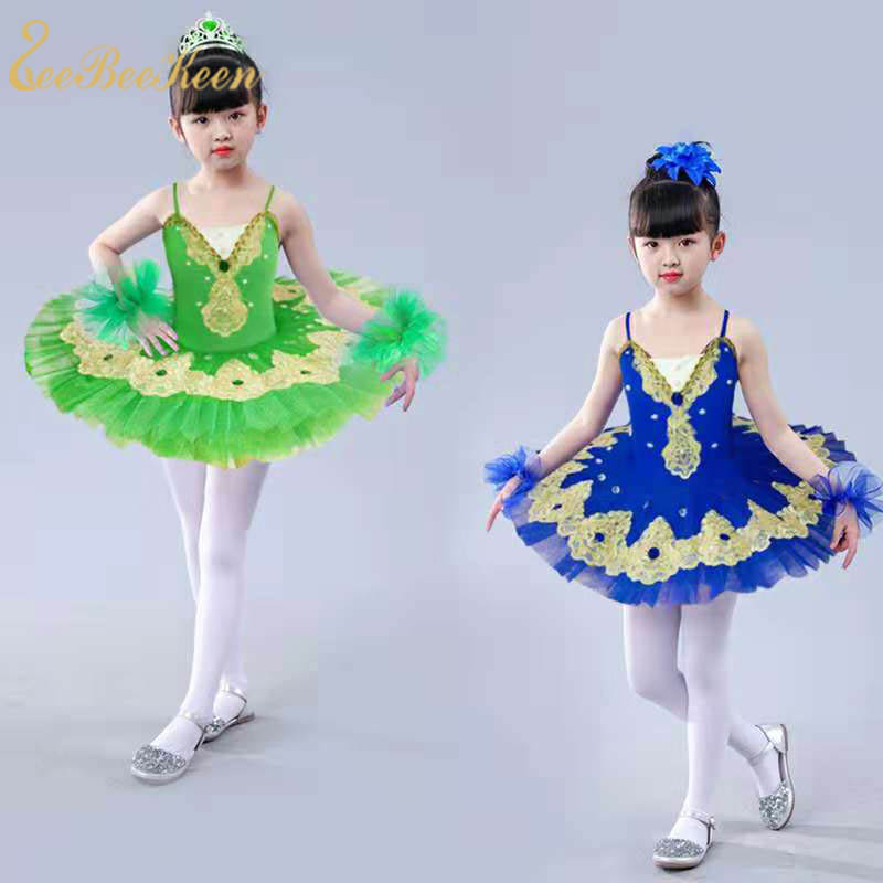 2018 New Girls Ballet Dance Dress Tutu Ballet Lacework Diamond For Women Pancake Swan Lake Ballet Stage Performance Skirts Kids