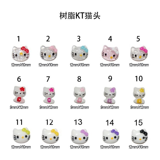 New!!!3d hello kitty nail art decoration nail resin studs100pcs/bag 23 designs to choose for whoelsale+free shipping