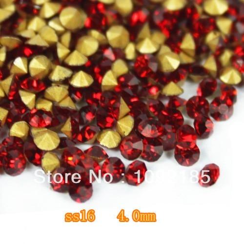Ss16 ( 3.8 4.0 mm ) Light Siam cor, 10 gross / lot apontado voltar Chaton Rhinestone para jóias acessório! Frete grátis