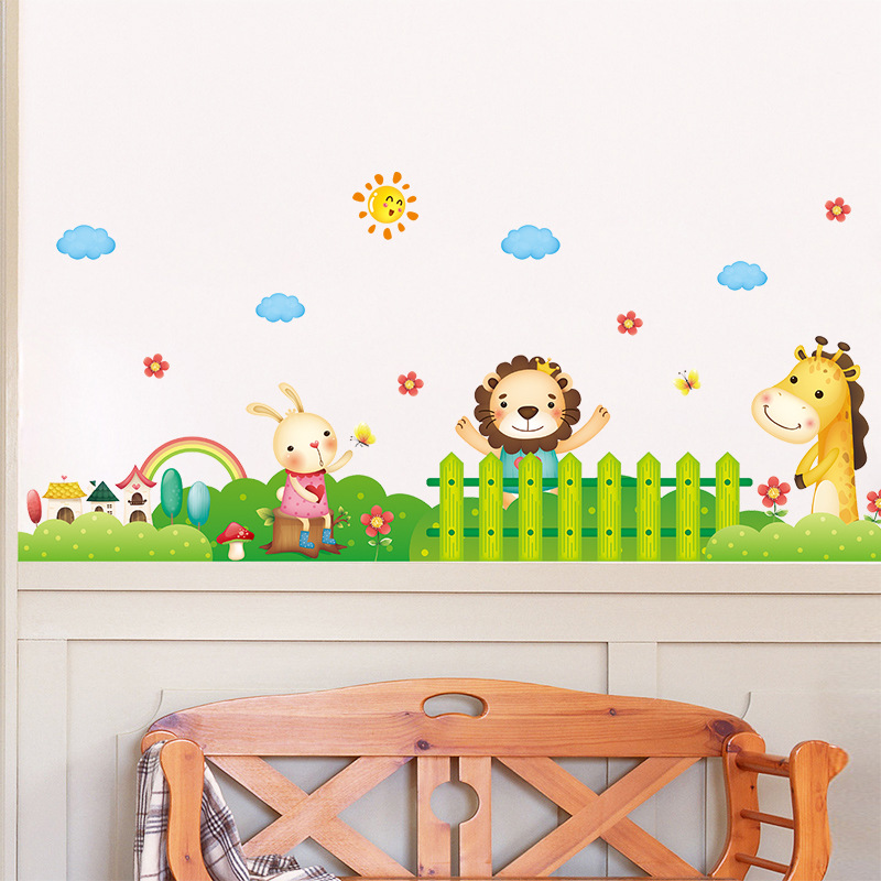 Cartoon Animals In The Garden Wall Sticker For Kids Room Nursery Border Wall  Decals Skirting Line Wallpaper Poster Art Decor In Wall Stickers From Home  ...