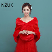 In Stock 2018 Winter Faux Fur Coat White Red Wedding Bolero Women Jacket Mariage Wraps Cape for Brides