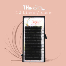 Thinkshow 8-15mm 12Rows Silk Eyelash Extension Soft Handmade Lash Professional Eye 3D Russia