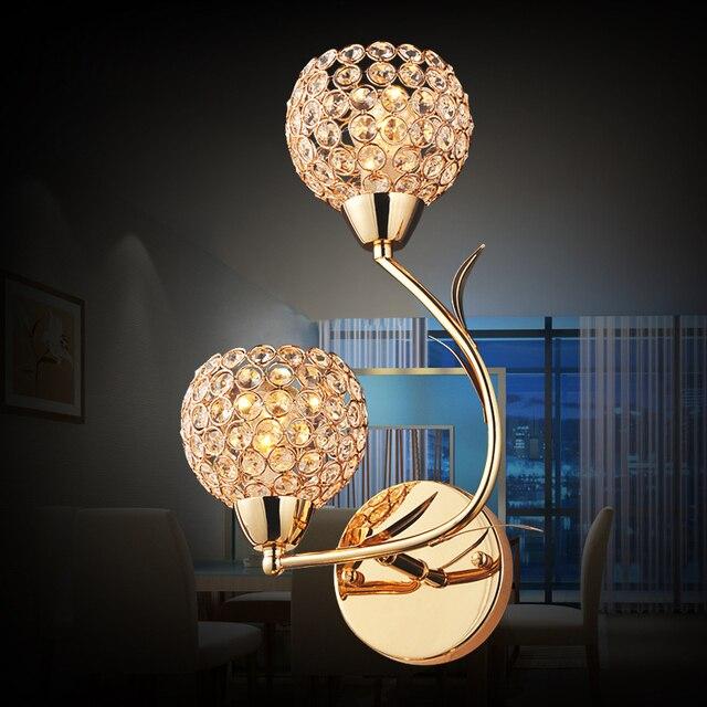 US $131.0 |Moderne 2 köpfe art deco lampe gold finish wandlampen mit led  lampen wohnzimmer dekoration lampe 110 v 220 v freies verschiffen in  Moderne ...