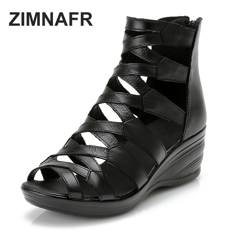 ZIMNAFR brand 2016 summer Fashion sandals genuine leather soft outsole comfortable open toe wedges mother shoes flat sandals