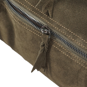 Image 3 - LilyHood Female Suede Genuine Leather Rivet Shoulder Bag For Women Leisure Small Boston Handbag Nubuck Bowler Crossbody Bag