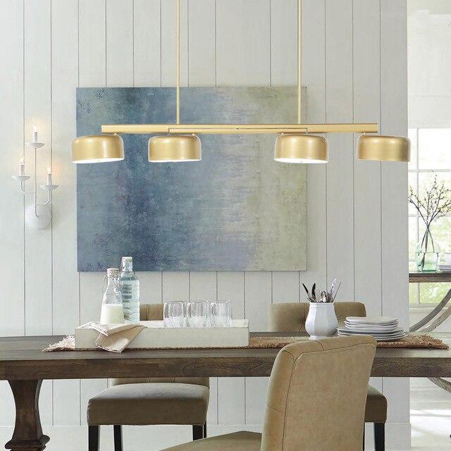 4 Heads Rotatable Modern Loft Decor Pendant Lights Art Golden Restaurant Light Nordic Dinner Table Suspension Fixtures