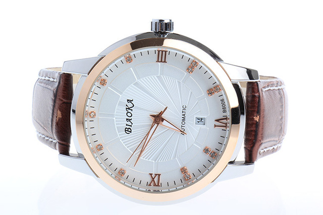 BIAOKA 100 m Waterproof Brand Fashion Gold Watch Stylish leather calendar Men Clock Classic Mechanical Montre Homme Wristwatch