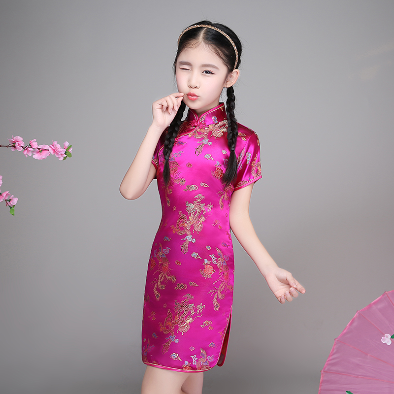 Lovely Girls Cheong-sam Chinese Traditional Kid Dragon Phoenix Dress Summer Dresses Children Perform Qipao Gift