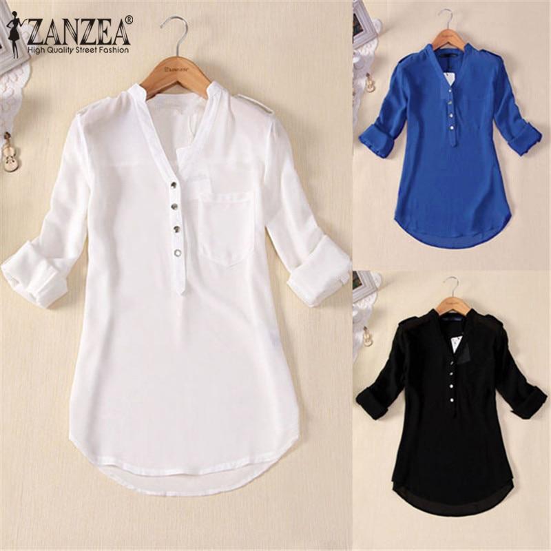 Zanzea Elegant Chiffon Women Blouse Blusas Feminina - ქალის ტანსაცმელი - ფოტო 1