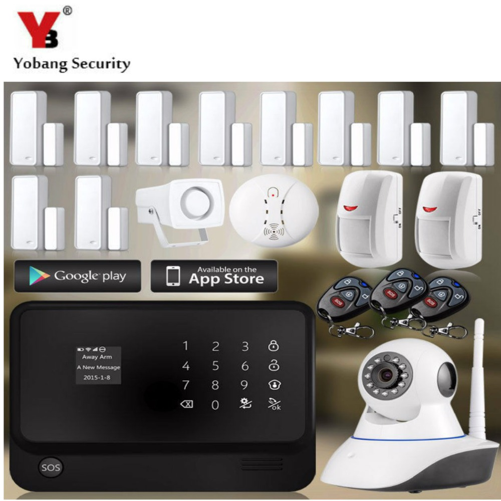 YobangSecurity Touch Screen WiFi GSM Alarm System for Home Android IOS APP Remote Control Home Wireless Security Alarm System gs x1 2 7 screen app control 4 channel wireless gsm home alarm system white black us plug
