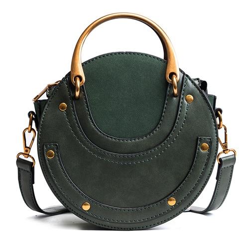 Women Totes Bag Fashion Circular Leather Retro Brand Metal Ring Handbag For Girl Small Round Lady Shoulder Messenger Bags