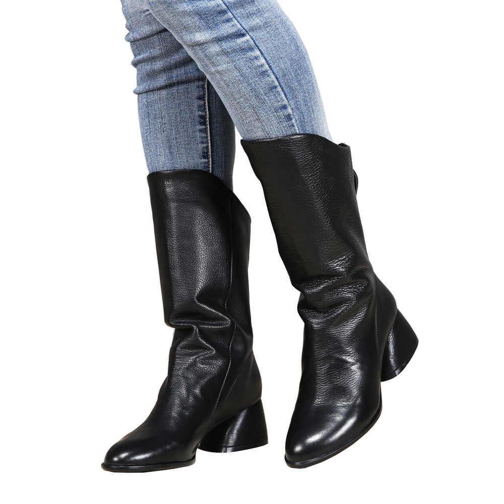 Vallu Stiefel Schuhe Frau 2018 Neue Ankunft Weibliche Mid-Kalb Booties Natürliche Leder Handgemachte Weiche Europäischen Stil Mode Dame schuh