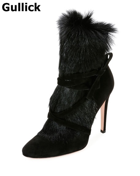 Gullick Newest Design Warm Faux Fur Black Boots Thin and High Heel Super Fashion Show Shoes Sexy Riband Ankle Boots