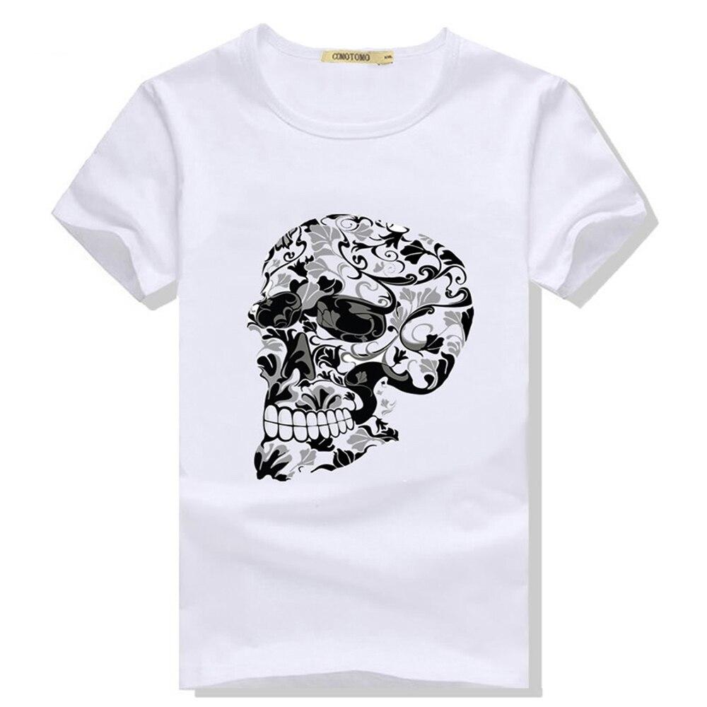 Jor 0880 T-shirt imprimé manches courtes T-Shirt Avec Motif Skull Tete de mort