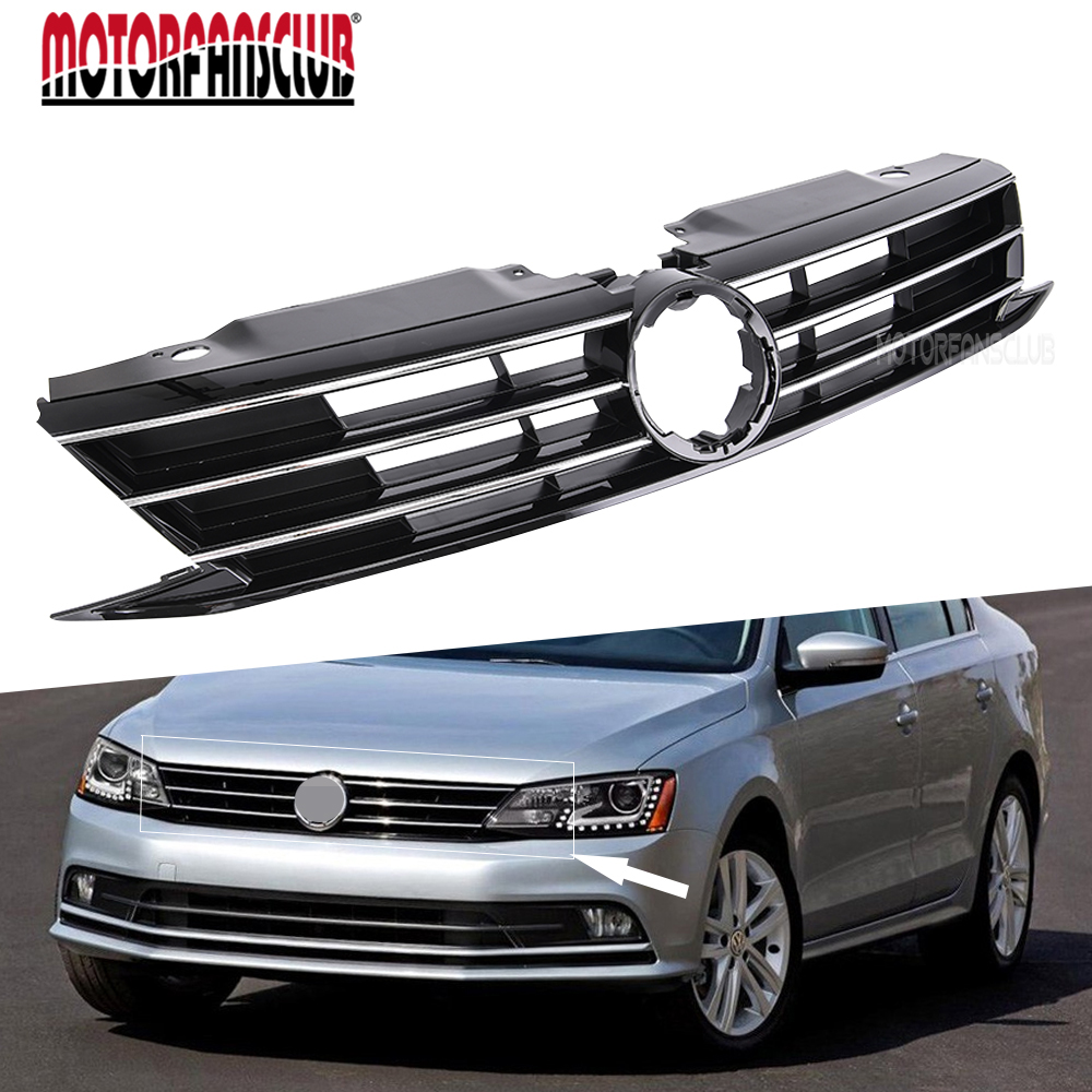 Black car styling grill front upper abs radiator grille shiny lacquer for vw jetta mk6 2015