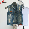 Short Waistcoat Lapel Thin Sleeveless Vest Cowboy Vest Small Jacket with Holes Woman Colete Jeans Chaleco