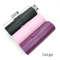 4 Colors Empty Portable Makeup Brush Round Pen Holder Cosmetic Tool PU Leather Cup Container Solid