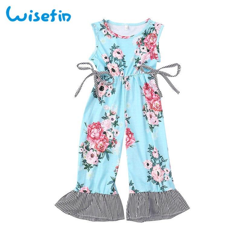 Wisefin Kinder Mädchen Floral Overall Sommer Streifen Kind Kleidung Kinder  Overalls Overall Blau Kleinkind Mädchen Ärmellose Overall