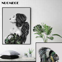 Nordic Fashion Girl Decorative Painting Modern Minimalist  Picture for Living room Black and White Wall Art Mural