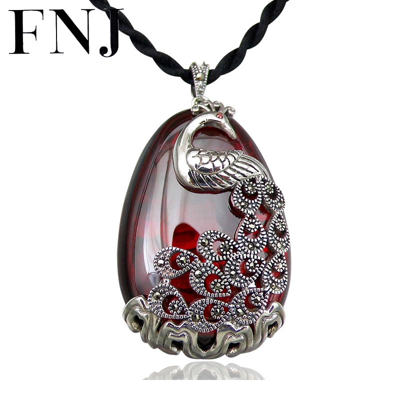 FNJ 925 Silver Peacock Pendant Red Zircon Yellow Chalcedony Stone S925 Original Thai Silver Pendants for Women Jewelry Making 925 sterling silver women lapis beads yellow chalcedony peacock pendant necklace rope chain thai silver choker jewelry ch057272