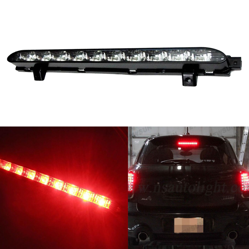 Black chrome lens red 10 led high mount third 3rd brake light oem fit for