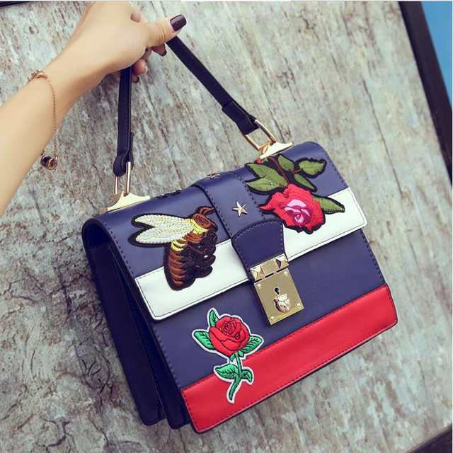 d19cda63b1 placeholder 2018 Autumn National Vintage Embroidery Shoulder Bag Women  Floral Bee Embroidered Handbags Ladies Small Lock