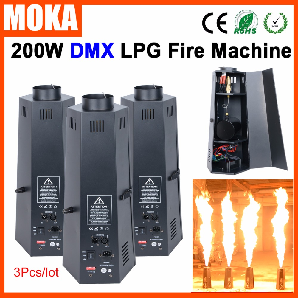 3 pcs/lot lpg Professional Fire Projector Stage flame machine DMX controlled Flame projector for Theater Party Disco Night Club free shipping stage led fire light flame projector 54x 10mm led silk fire flame light machine