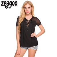 Zeagoo Women T Shirt Fashion V Neck Short Sleeve Front Lace Up Mesh Tops 2017 Spring