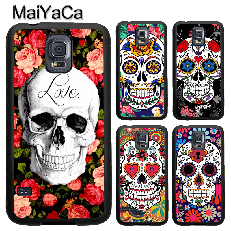 MaiYaCa Floral Girly Sugar Skull Flower Case For Samsung Galaxy S5 S6 S7 Edge Note 8 5 4 TPU Case For Samsung S8 S9 Plus Cover