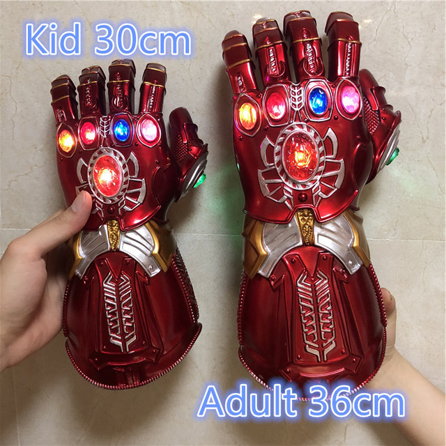 1:1 War Gauntlet Iron Man Red Ver. Action Figure LED Light Cosplay Thanos Gloves Prop Kid Gift