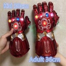 Gant de guerre 1:1, homme de fer, rouge. Figurine daction Cosplay Thanos, gants, accessoire, cadeau pour enfant, lumière LED