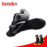 Boodun 사이클링 신발 도로 프로 자동 잠금 초경량 블랙 컬러 통기성 운동 레이싱 스니커즈 야외 자전거 자전거 신발