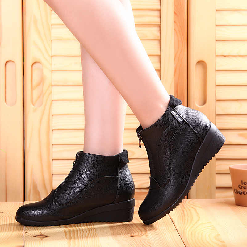 Kadın Bot Ayakkabı Kadın yarım çizmeler Kürk Takozlar Ayakkabı Zip Bayan Botları Deri botas mujer Yuvarlak Ayak Siyah beyaz kırmızı beden 35-42