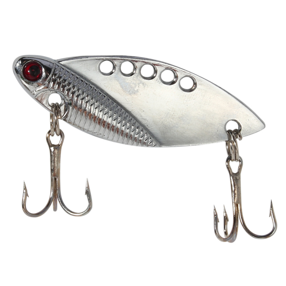 Sliver metal fishing lure spoon hard bait bass crankbait for Best hooks for bass fishing